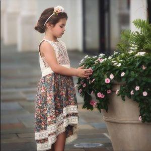 Trish Scully Child Floral Lace Dress Hi Lo Hem Sz6